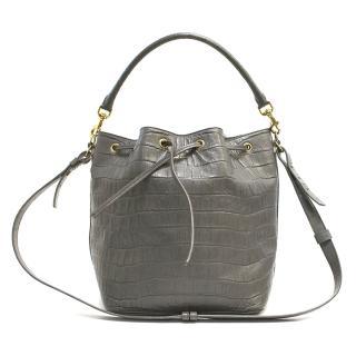 Saint Laurent Grey Crocodile Bucket Bag