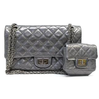 Chanel silver bag with attached wallet