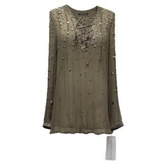 Louis Cerano khaki green blouse