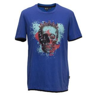 Just Cavalli blue t shirt with skull artwork