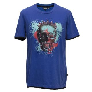 Just Cavalli blue t shirt with skull artwork