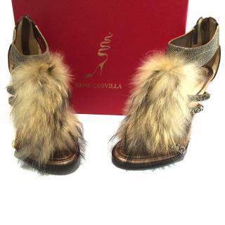 Rene Caovilla Fur & Swarovski Heels