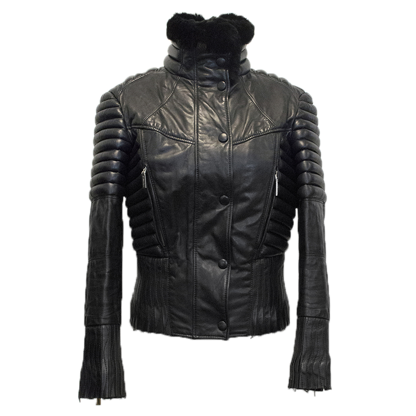 Versace Black Leather Biker Jacket with Fur Collar