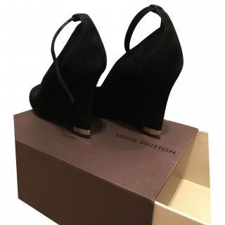 Louis Vuitton Black Suede ankle strap wedges