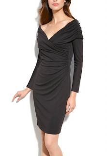 New St. John Black Collection Matte Jersey Off Shoulder Dress