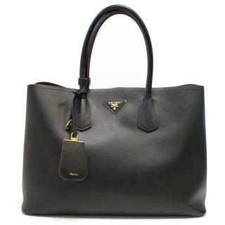 Prada double leather Saffiano  black bag