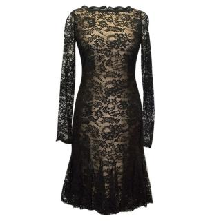 Oscar de la Renta Black Silk Lace Dress with Nude Lining