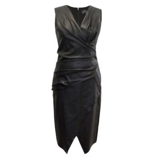 J. Mendel Black V-Neck Leather Dress