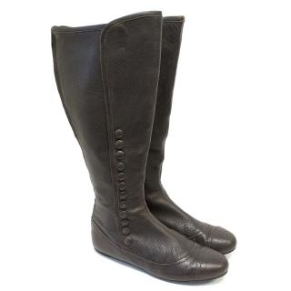 Tod's brown leather long boots