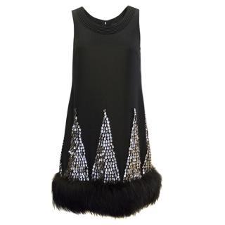 J. Mendel Black Dress With Sequins and Fur Details
