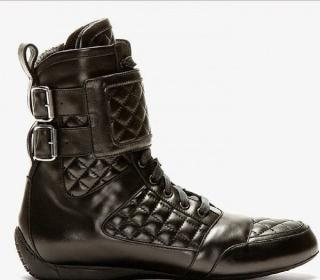 Balmain black leather high top sneakers