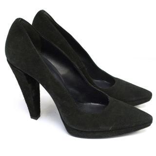 Balmain black suede heels