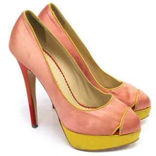Charlotte Olympia pink satin heels
