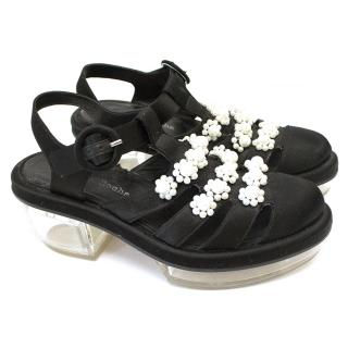 Simone Rocha black sandals with faux pearl embellishment