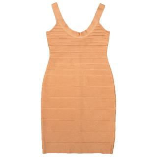 Herve Leger peach dress