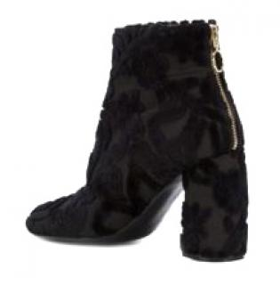 Stella runway brocade black velvet booties
