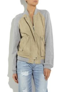 Alexander Wang suede and cotton jersey bomber jacket