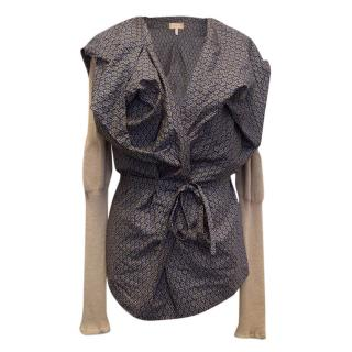Vivienne Westwood Navy Patterned Blouse with Beige Arms