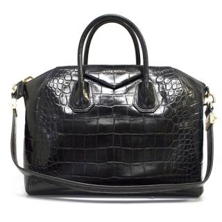 Givenchy black mock croc shoulder tote bag