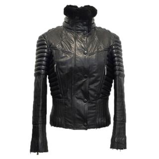 Versace Black Leather Biker Jacket with Fur Collar