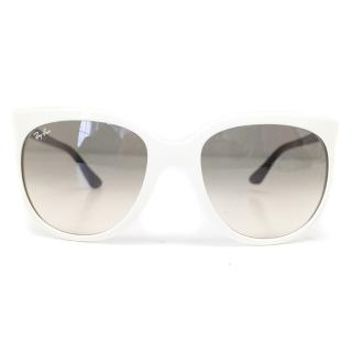 Ray Ban White Frame Sunglasses with Black Arms