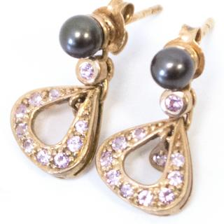 Links of London Rose Gold Earrings With Pink Stones