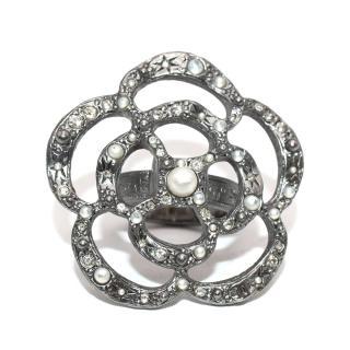Chanel Ruthenium Tone Camellia Faux Pearl & Crystal Ring