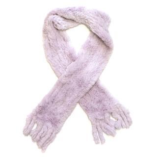 Joseph Lavender Rabbit Fur Scarf