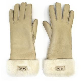 Ugg Beige Leather Glove