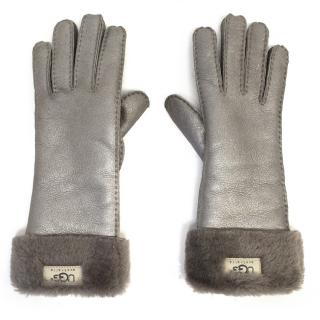 Ugg Silver Leather Gloves