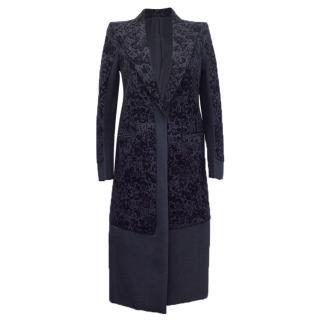 Celine Vintage Navy Blue Velvet Coat
