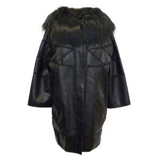 J.Mendel Leather Coat with Fur Collar