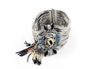 Iosselliani Bronze, Lapis and Gold Bracelet