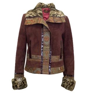 Etro burgundy jacket with Fur Trims