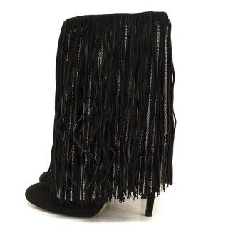 Jimmy Choo black fringed boots