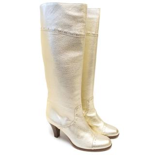 Marc Jacobs Knee-High Mettalic Gold Boots