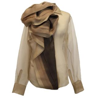 Christian Dior beige silk blouse