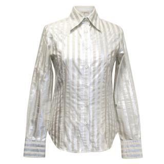 Etro Silver and Cream Stripe Shirt