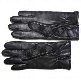 Burberry Lambskin Leather and Wool Black and Grey Check Womens Gloves