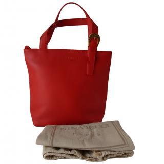 Nina Ricci Red Leather Small Tote Bag