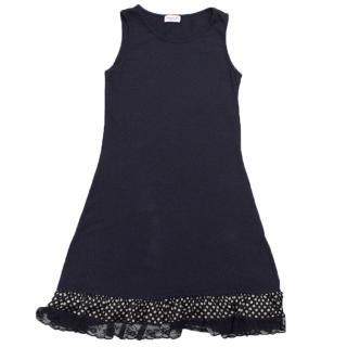 Monnalisa Girls Navy Blue Sleeveless Dress with Ruffles