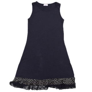 Monnalisa Girls Navy Blue Sleeveless Dress with Ruffles