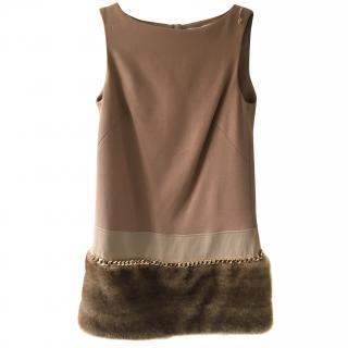 ELIZABETTA FRANCHI Faux Fur Embellished Shift Dress