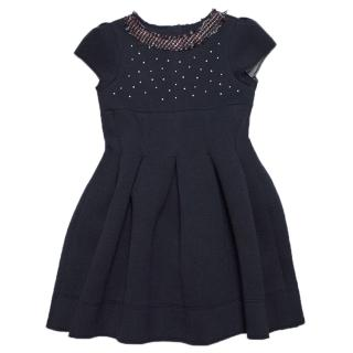 Mayoral Girls Navy Blue Scuba Dress with Embellishments