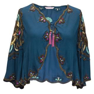 Matthew Williamson blue silk embroidered cropped jacket