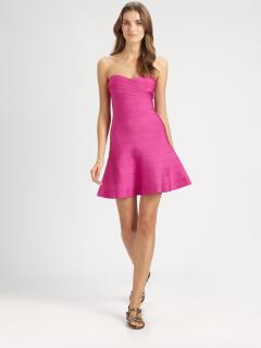Herve Leger Pink Strapless Bandage Dress
