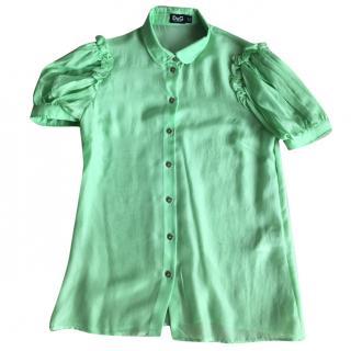 D&G Silk Pastel Green Short Sleeve Shirt