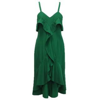Yves Saint Laurent Emerald Green Ruffle Dress
