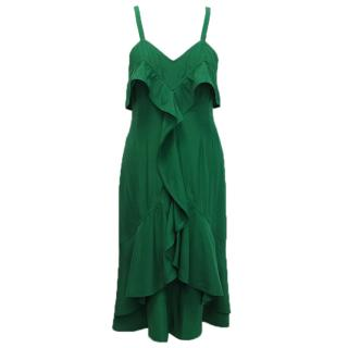 Yves Saint Laurent Emerald Green Ruffle Dress