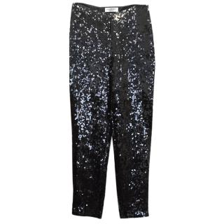 Yves Saint Laurent Black Sequin Trousers